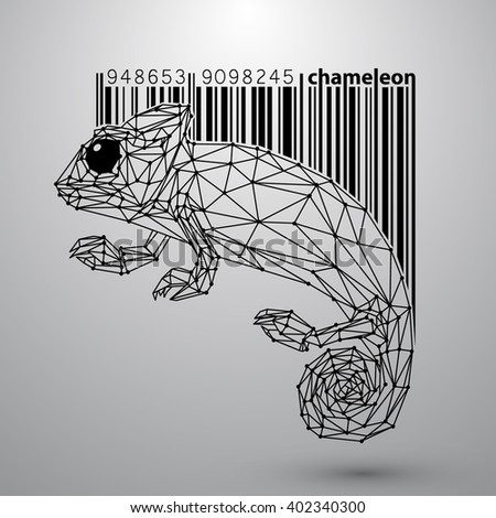 chameleon in style wire and bar code - stock vector