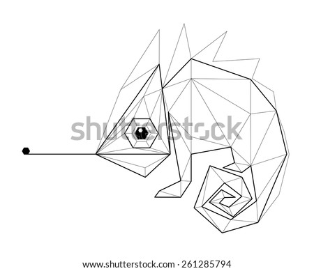 Chameleon. Low polygon linear vector illustration - stock vector