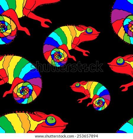 chameleon, seamless pattern, vector image - stock vector