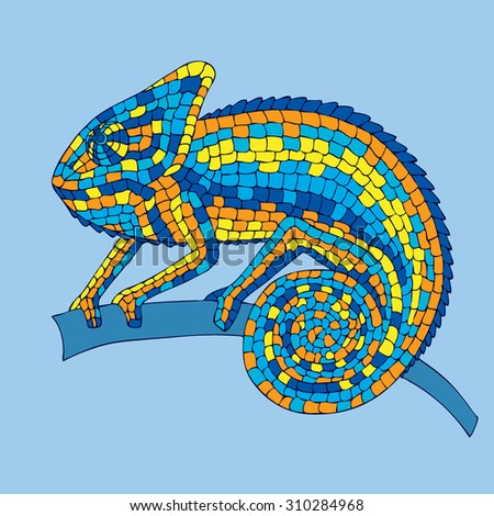 Chameleon sitting on a branch. abstract vector illustrations multicolored mosaic chameleon, lizards, reptiles with small scales. illustrations drawn by hand with pencil, pen. logo. Icon. - stock vector