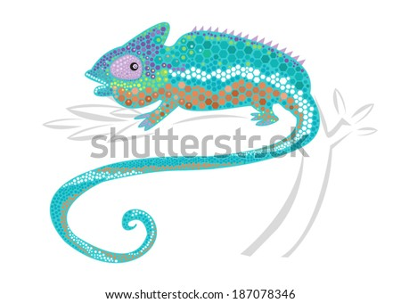 Chameleon with Colorful Skin Coloration and Hexagon Scales. Vector Illustration. Editable Clip Art.