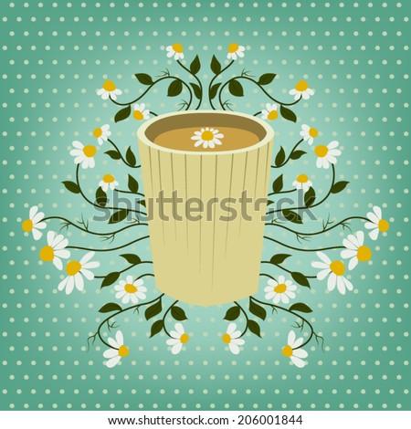 Chamomile Herbal Tea - stock vector