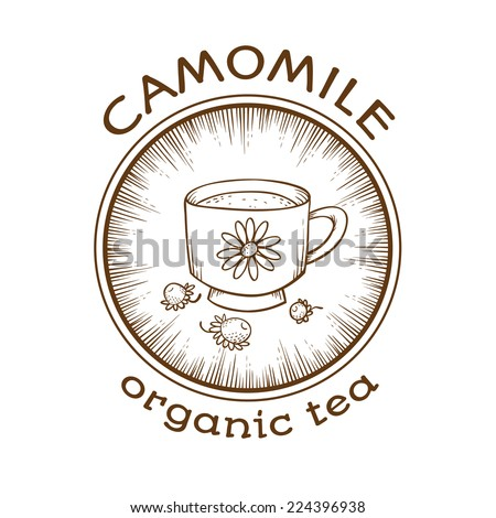 Chamomile organic tea. Label template. - stock vector
