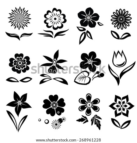Chamomile, primula,  anemone, tulip, gowan, orchid, dog-daisy, petunia flower set. Spring flowers. Black cutout silhouettes on white background.  Isolated symbols of flowers and leaves. Vector - stock vector