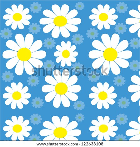 Chamomiles seamless texture on blue background - stock vector