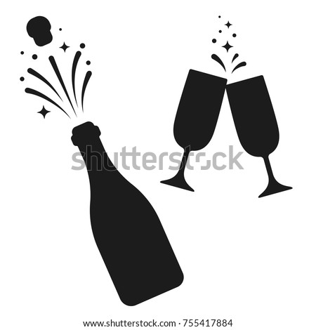 Champagne bottle and two glasses black silhouette icons. Simple minimal vector illustration.