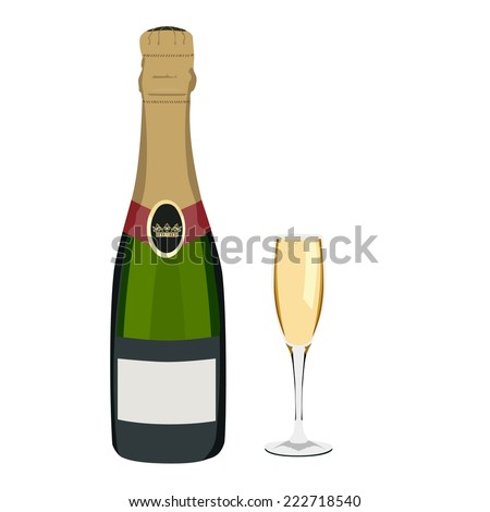 Champagne, champagne glass,  champagne bottle isolated - stock vector