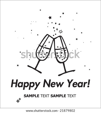 Champagne flutes making a toast. Happy New Year Card. - stock vector