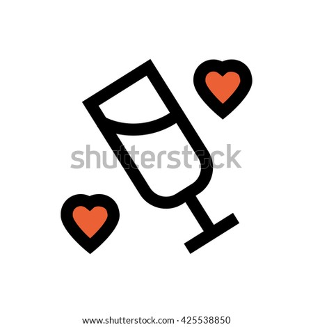 Champagne glass, heart, valentine's day, love line icon. Pixel perfect fully editable vector icon suitable for websites, info graphics and print media. - stock vector