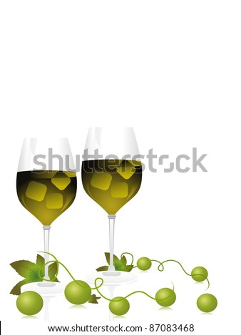 champagne glass with grapes vines on white background - stock vector