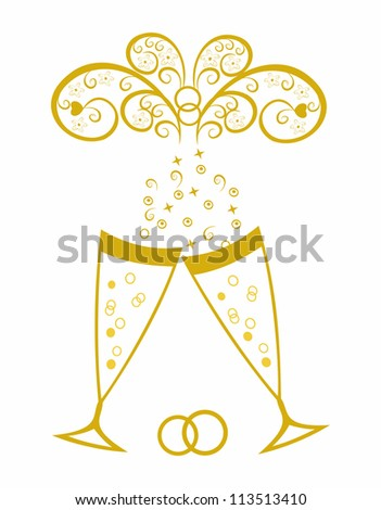 Champagne glasses.Golden wedding celebration.Editable and scalable vector - stock vector