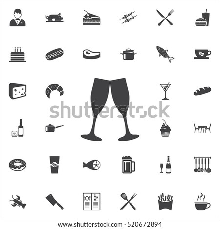 champagne glasses icon on the white background. restaurant set of icons.