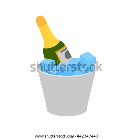 Champagne icon. Bottle of champagne in ice bucket vector illustration. Champagne on ice icon