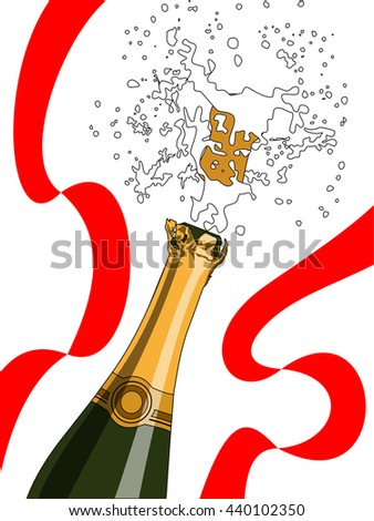 Champagne splashing and red ribbon. Concept of Celebration, holiday and congratulation - stock vector