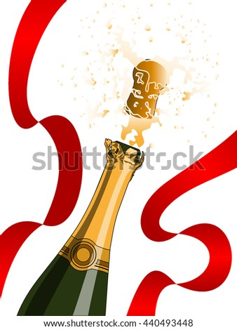 Champagne splashing and red ribbon without outlines. Celebration, holiday and party concepts - stock vector