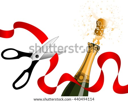 Champagne splashing and scissors cutting red ribbon without outlines. Celebration, holiday and party concepts - stock vector