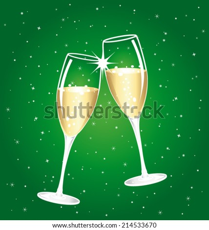 Champagne toast cups. Green starry background.  - stock vector