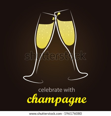 Champagne Toast - moment of celebration -  Stylish and minimalist vector background - stock vector