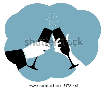 Champagne Toast Silhouette Two hands make a toast. - stock vector