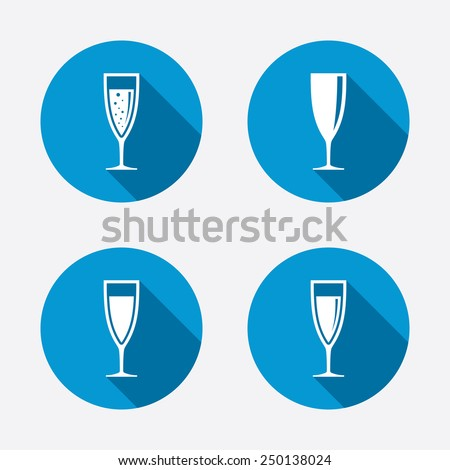 Champagne wine glasses icons. Alcohol drinks sign symbols. Sparkling wine with bubbles. Circle concept web buttons. Vector - stock vector