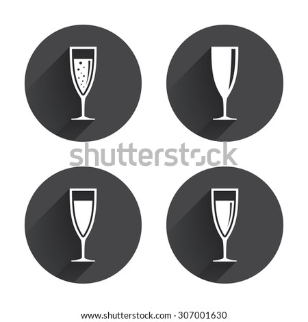Champagne wine glasses icons. Alcohol drinks sign symbols. Sparkling wine with bubbles. Circles buttons with long flat shadow. Vector - stock vector