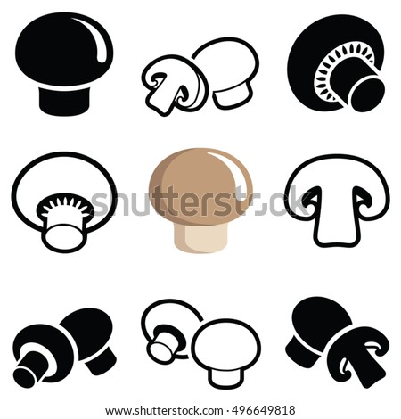 Champignon mushroom icon collection - vector outline and silhouette