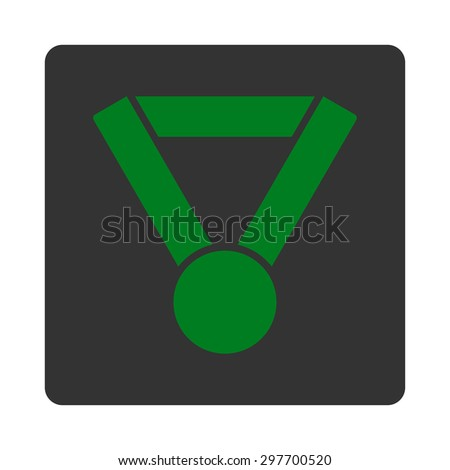 Champion award icon from Award Buttons OverColor Set. Icon style is green and gray colors, flat rounded square button, white background.