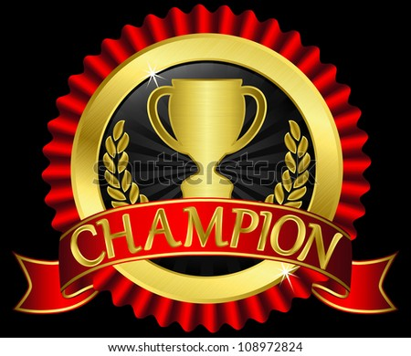 Champion cup sign with red ribbon, vector illustration - stock vector