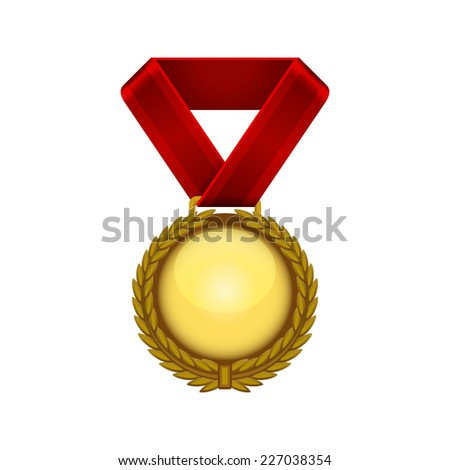 Champion Gold Medal with Red Ribbon. Vector illustration - stock vector