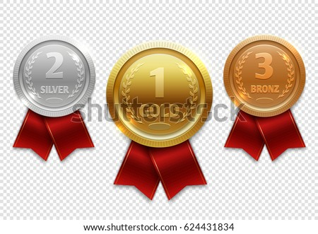 Champion gold, silver and bronze award medals with red ribbons
