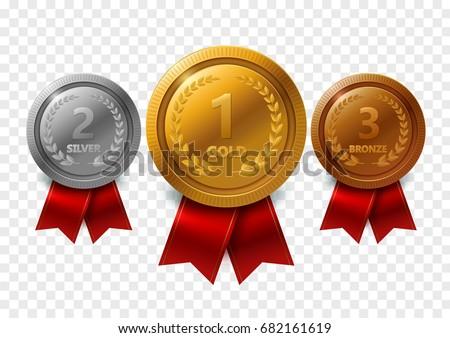 champion gold silver bronze award medals vector de
