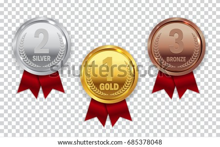 Champion Gold, Silver and Bronze Medal with Red Ribbon Icon Sign First, Second and Third Place Collection Set Isolated on Transparent Background. Vector Illustration EPS10