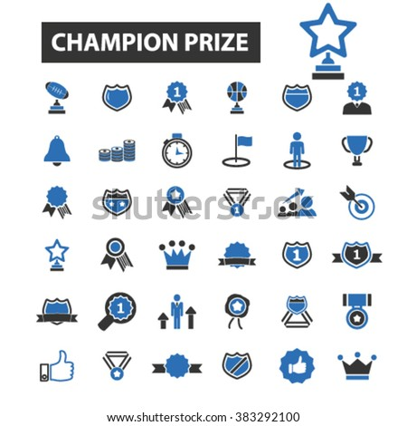 champion prize icons - stock vector