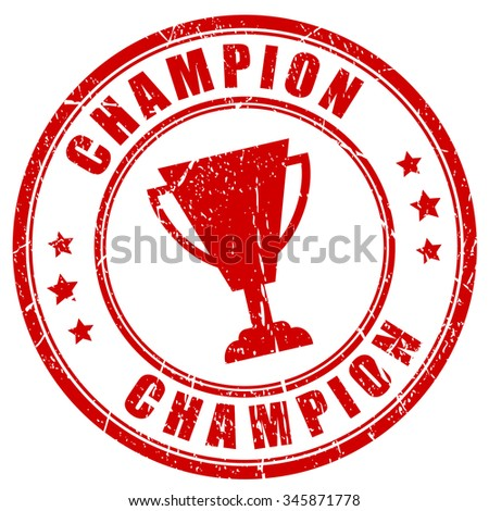 Champion rubber stamp vector illustration isolated on white background - stock vector