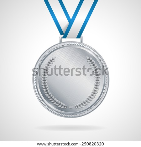 Champion silver medal with ribbon  on white background - stock vector