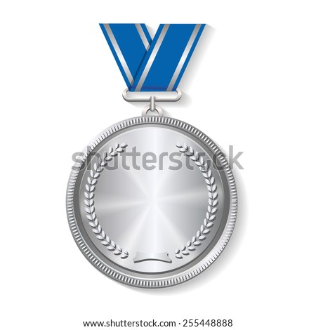 Champion silver medal with  with a concentric circle texture pattern and ribbon  vector illustration on white background - stock vector