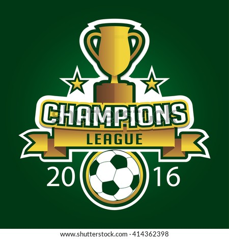 Champion soccer league logo emblem badge graphic with trophy background - stock vector