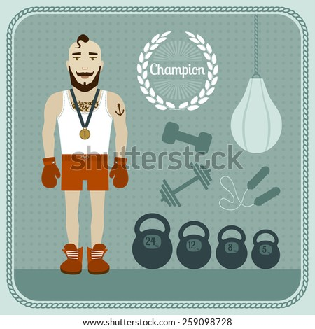 Champion. Sportsman with gold medal and sports Equipment. - stock vector