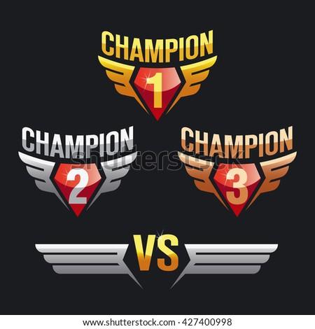 Champion, wings, vs (versus). Gold, silver, bronze, 1st, 2st, 3st place. Sign, symbol, logo. Vector illustration. - stock vector