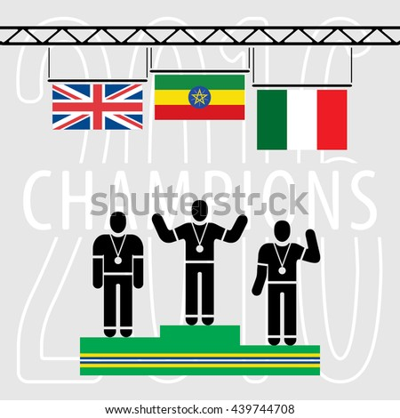 Champions 2016 Composition - Three Black Silhouettes of Sportsmen Standing on Green Yellow Blue Podium Under National Flags in Front of Background text - Ethiopia UK Italy Infographic Style