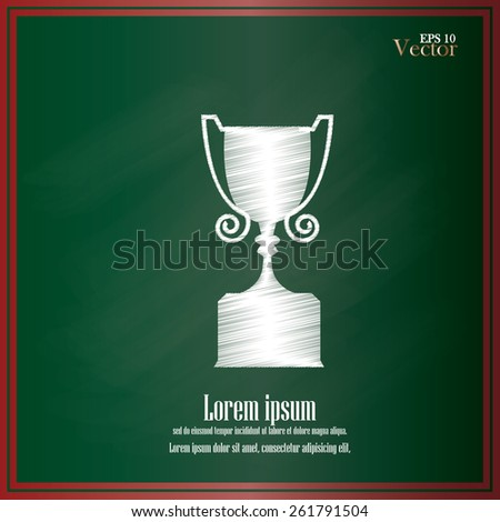 Champions Cup icon on chalkboard.award cup .vector illustration     - stock vector