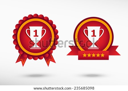 Champions Cup icon stylish quality guarantee badges. Colorful Promotional Labels  - stock vector