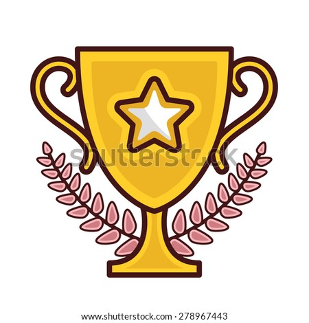 Champions cup icon. Vector illustration isolated on white background. Creative flat line design