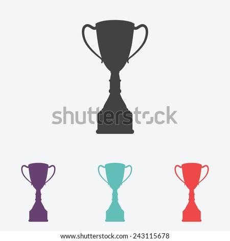 Champions cup vector icon. Trophy symbol - stock vector