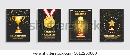 Championship winner trophy gold medal award symbol  4 realistic festive black background posters collection isolated vector illustration