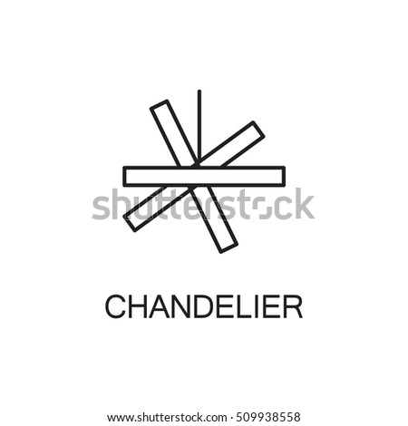 Chandelier flat icon. High quality outline pictogram of element for interior. Vector line illustration of chandelier for web design or mobile app. Button and symbol for design visit card, logo.