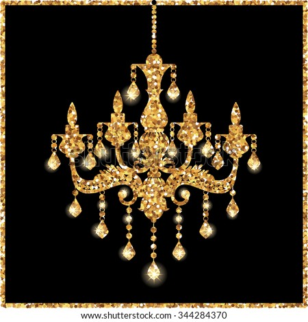 Chandelier silhouette isolated on black background stock vector chandelier silhouette isolated on black background with gold glitter stars lights sparkles vector mozeypictures Image collections