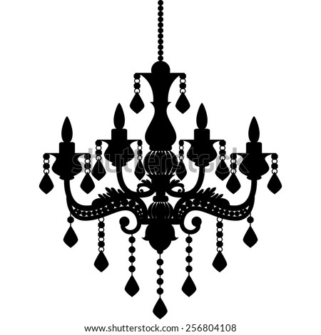 Chandelier silhouette isolated on White background. Vector illustration - stock vector