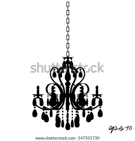 chandelier silhouette vector - stock vector