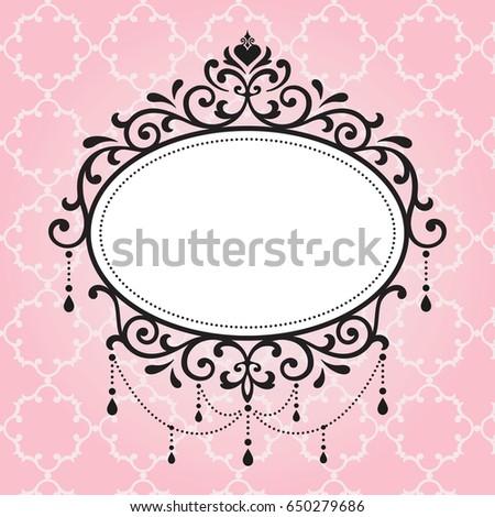chandelier vintage frames design on pink pattern background frame4 design